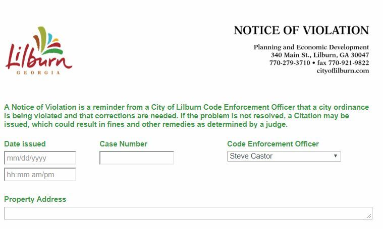 Example of Notice of Violation